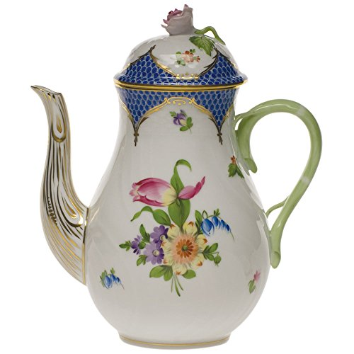 Herend Printemps Blue Coffee Pot With Rose - Soup Cream Saucer Rose