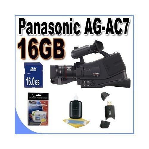 Panasonic AG-AC7 Shoulder Mount AVCHD Camcorder W/16GB Memory Card + USB Card Reader + Accessory Saver Bundle