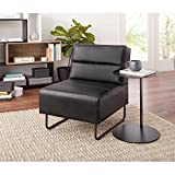 Modern Fully Upholstered Seat Lounge Chair, Black Faux Leather