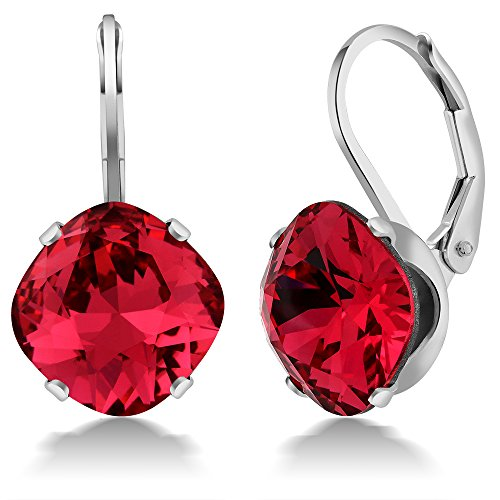 Sterling Silver 10.00MM Rose Red Earrings Made with Swarovski Crystals