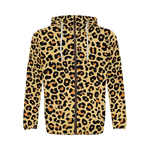 INTERESTPRINT Leopard Print Men's Full-Zip Zipper Hoodies Sweatshirt L