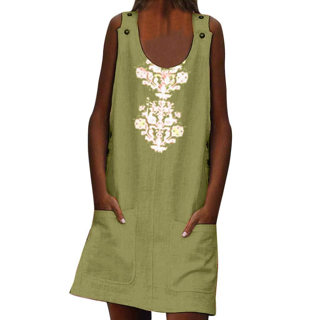 Women Linen Print O-Neck Sleeveless Dress Buttons Pockets Casual Dress Plus Size (Green, M)