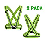 Power Tiger CAR ACCESSORIES Reflective Running Vest Women Men - 2 Pack Adjustable Elastic Hi Vis Safety Vest for Biking, Walking, Jogging, Motorcycle,Cycling Outdoor Reflective Gear Yellow Green