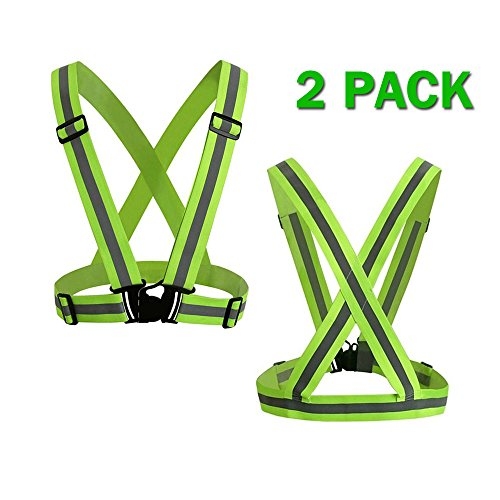 Power Tiger CAR ACCESSORIES Reflective Running Vest Women Men - 2 Pack Adjustable Elastic Hi Vis Safety Vest for Biking, Walking, Jogging, Motorcycle,Cycling Outdoor Reflective Gear Yellow Green by Power Tiger CAR ACCESSORIES