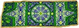 Egypt gift shops 16''X56'' Greenish Ramadan Tent Exotic Classic Fabric Fringes Trim Table Cloth Decor Khayameya khyamya Arabian Islamic Patterns