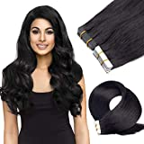 Tape in Human Hair Extensions 18 inch 20pcs 40g/pack Silky Straight Remy Tape Hair Extensions 1B# Off Black ...