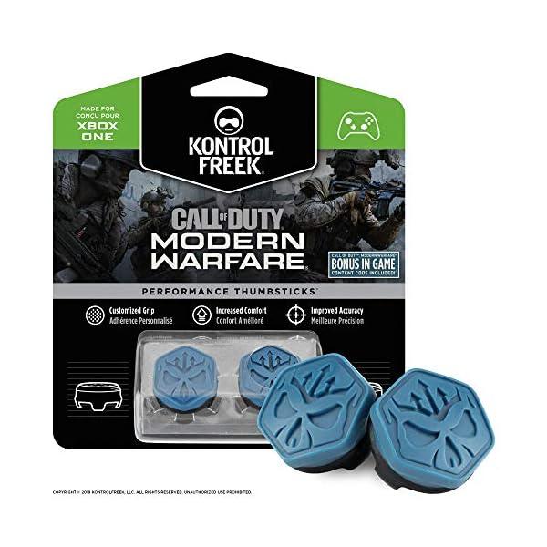 KontrolFreek Call of Duty Modern Warfare Performance Thumbsticks for Xbox One | 2 Mid-Rise, Convex | Blue/Black 1