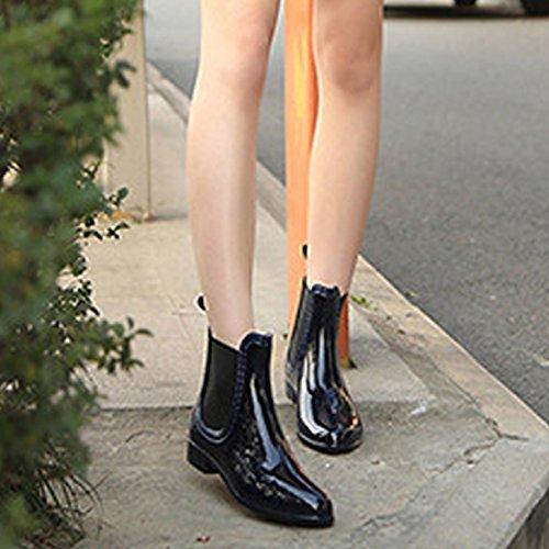 Pioggia Ragazza Antiscivolo Da Scuro Gomma Stivaletti Per Impermeabili Wellington Blu In Jackshibo Donna Stivali fwf8HUP6q