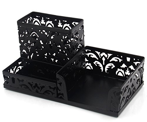 EasyPAG Hollow Flower Pattern 3 Compartment Office Desk Organizer ,Black