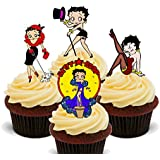 Betty Boop Edible Cupcake Toppers - Stand-up Wafer Cake Decorations by Made4You