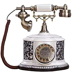JNYTD Vintage Phone, Retro Style Button Dialing Wired Phone Antique Traditional Ringtone Classic Metal Clock