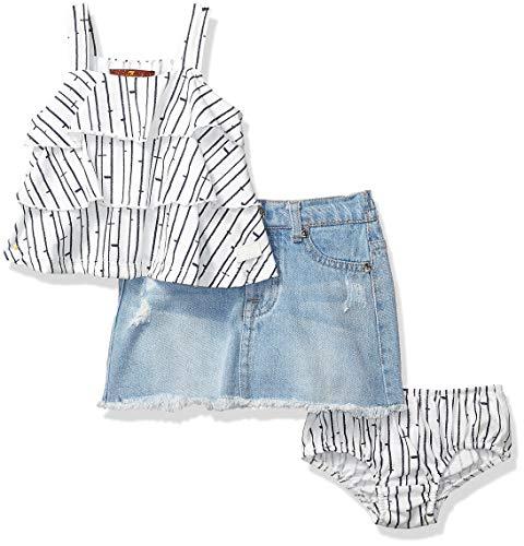7 For All Mankind Kids Baby Girls Sleeveless Ruffle Tier Top and Denim Skirt, Navy Birch Print/Medium Wash, 18M