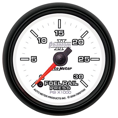 Auto Meter 7593 Phantom II 2-1/16'' 0-30000 PSI Full Sweep Electric Diesel Fuel Rail Pressure Gauge for 2007.5 and Newer Dodge Cummins 6.7L GM Duramax LBZ and LMM by Auto Meter