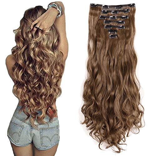 7Pcs 16 Clips 24 Inch Wavy Curly Full Head Clip in on Double Weft Hair Extensions