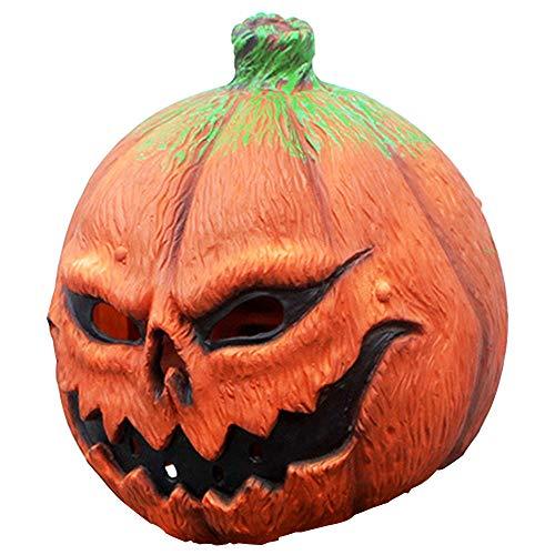 (XWU Halloween Horror Silicone DIY Masquerade Props Pumpkin Mask Plays Face)