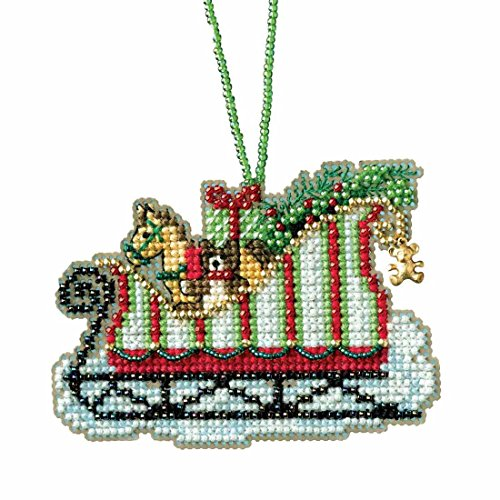 toyland sleigh beaded cross stitch