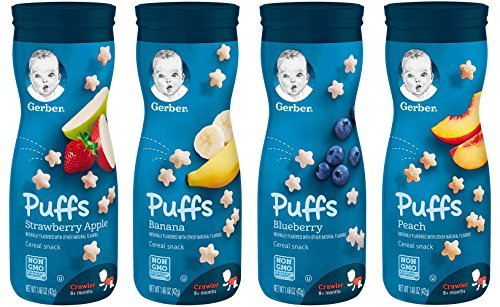 Gerber Graduates Puffs Cereal Snack, Variety Pack 1.48 Oz, 4 Pack (Strawberry Apple, Banana, Blueberry, Peach)