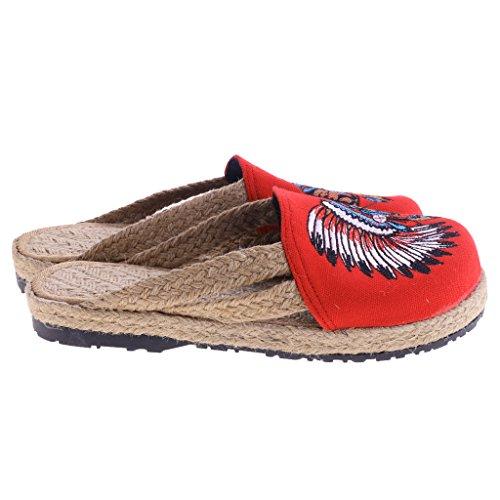 Zapatos Rojo Transpirable Baoblaze Casual 1 40 Par de Planos Playa EU de Pescador Verano Zapatillas de Zueco 37 Lino q6gE6Un