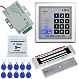 LIBO 125KHz RFID EM ID Keypad Stand-Alone Door Access Control System Kit with 180kg/350lbs Electric Magnetic Lock, Door Exit Release Button, 10pcs RFID Keyfobs