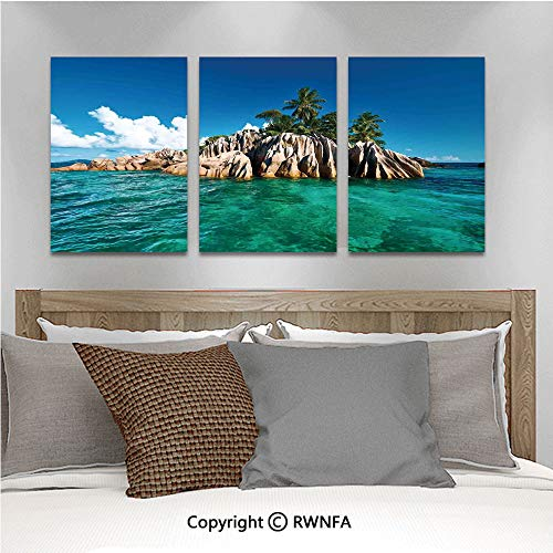 3Pc Creative Wall Stickers St. Pierre Island at Seychelles Natural Granite Relaxation Mediterranean Bedroom Kids Room Nursery Dinning Wall Decals Removable Art Murals,19.7