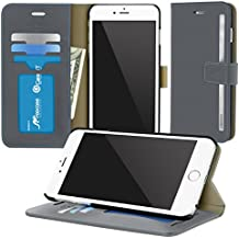 iPhone 6s Plus Case, roocase [Prestige Folio] iPhone 6 Plus 5.5 Wallet Case - [Stand Feature] Premium Synthetic Leather Wallet Case Flip Cover with Credit Card ID Holder for Apple iPhone 6 Plus (5.5), Slate Gray