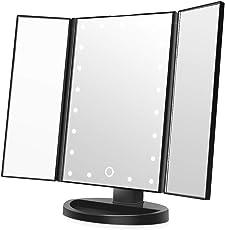 Easehold Led Lighted Vanity Mirror Make Up Tri-Fold