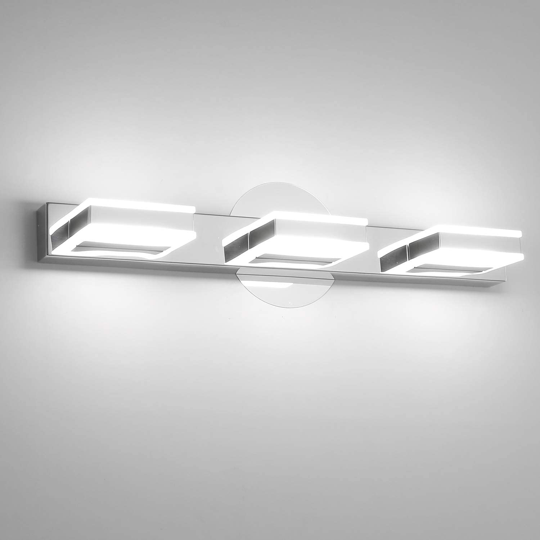 Combuh Led Bathroom Vanity Light 3 Lights Chrome Wall Light 20 Inch 12w Mirror Lighting Fixture Indoor Wall Lamp Modern Cool White 6000k Amazon Com