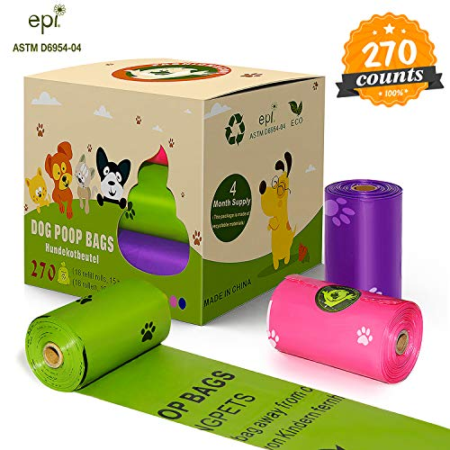 Poop Bags Biodegradable, 18 Rolls/270 Refills Poop Bags, Eco-Friendly Clean Up Bags Comply ASTM D6954-04, Large Size 9 x 13 Inches-Extra Thick 15 Mils Leak Proof Dog Waste Bags in 3 Colors