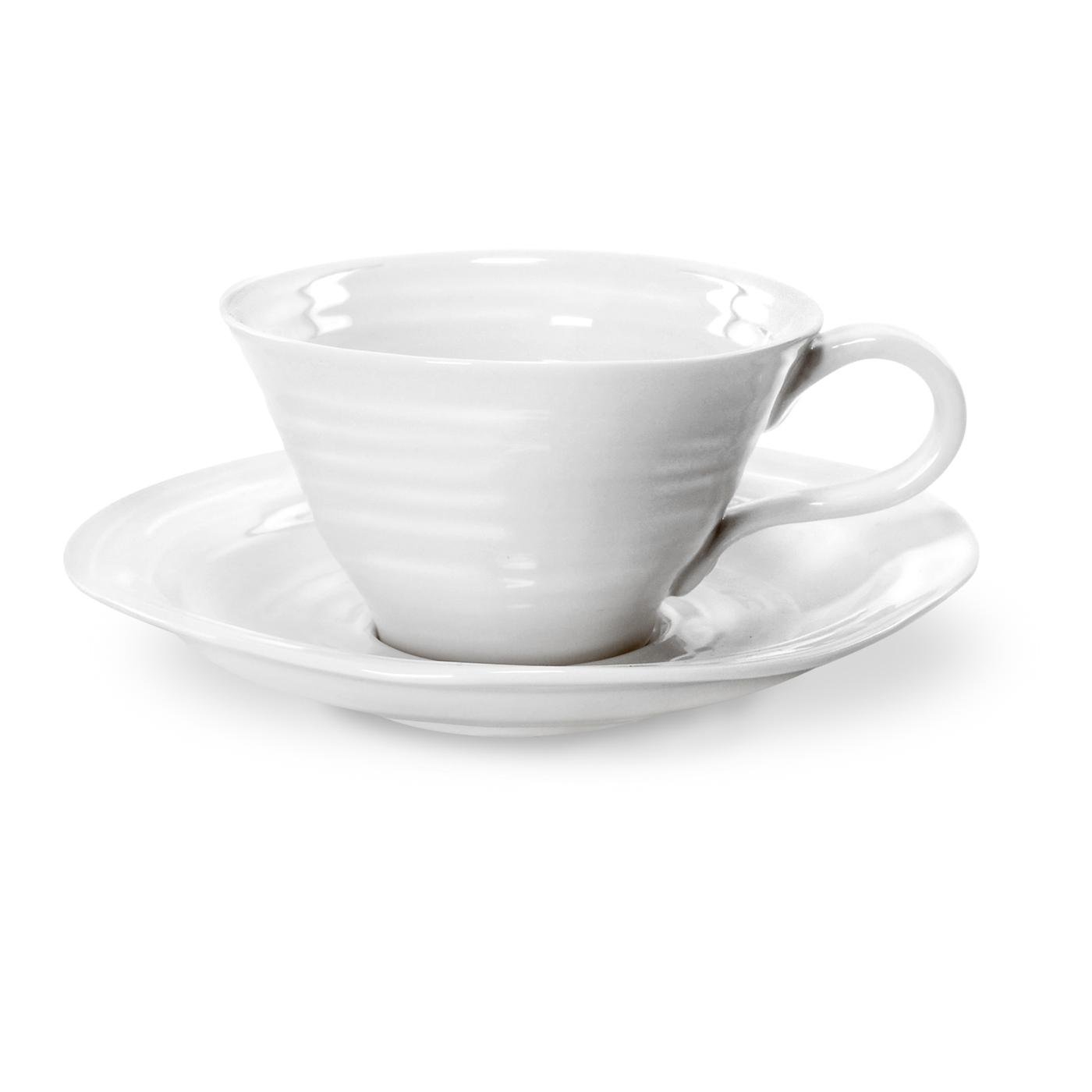 Portmeirion Sophie Conran White Teacup and Saucer, Set of 4 422179
