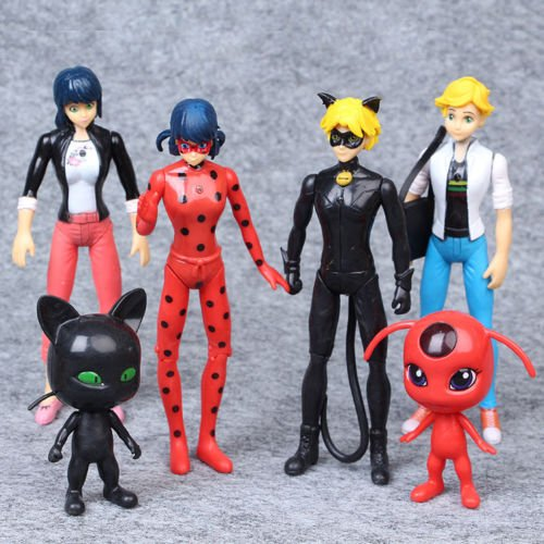 Kids Toy - Action Figure Toy- Miraculous Ladybug Tikki Noir Cat Plagg Adrien 6 PCS Action Figures Doll Toys Lovely Doll - Best Gift for Kids