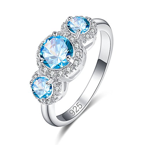 Psiroy 925 Sterling Silver Created Blue Topaz Filled Round Cut 3 Stone Promise Ring for Women (Pearl Cluster Rhodium Silver Ring)