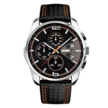 Mens waterproof big Dial Chronograph quartz watch/Personality fashion business male skin watches-Orange