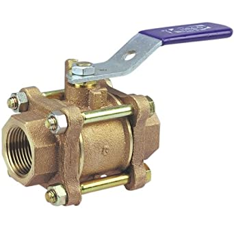 "NIBCO T-590-Y Cast Bronze Ball Valve, Three-Piece, Lever Handle, 2-1/2"" Female NPT Thread (FIPT)"