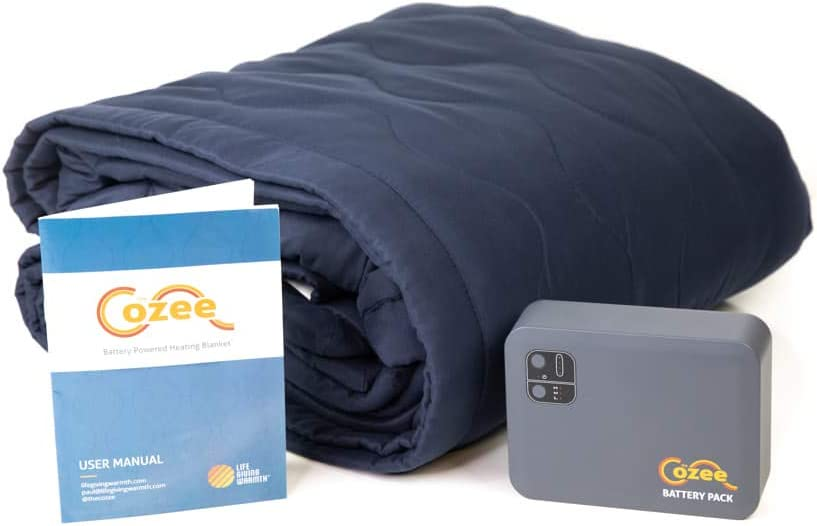 Battery Operated Heated Blanket Soft Fleece Throw For Car Camping Outdoors Sports Events Portable Water-Resistant | 5+ Hours Cordless Heating Blanket | 2 USB Ports | 12 Volt Input Safety Shutoff