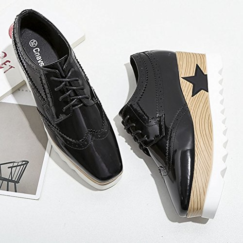 Perforated Women's T up Shoes Oxfords Platform Black Lace JULY Wingtip Casual Classic Shoes YRqr5qxaw
