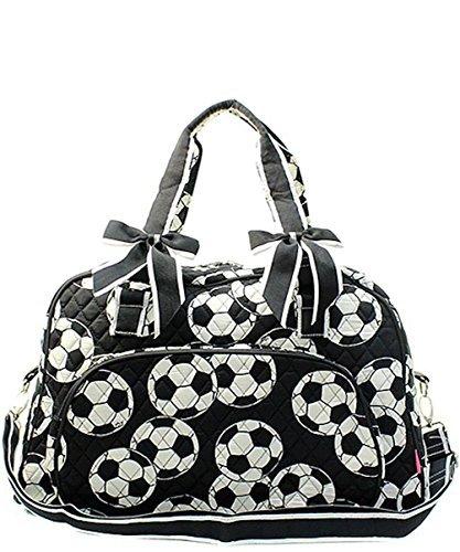 N. Gil Quilted Weekender Duffel Bag (Soccer Black)