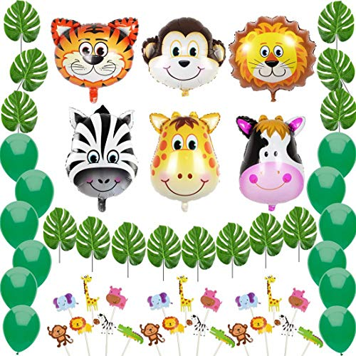 Jungle Safari Theme Party Decorations:6 Animal Foil Balloons(Zebra,Tiger,Lion,Monkey,Giraffe,Cow), 12 Green Palm Leaves, 14 Balloons, 21 Cupcake Topper-Supplies and Favors for Kids Boys Birthday Baby Shower Decor by Marina's Day