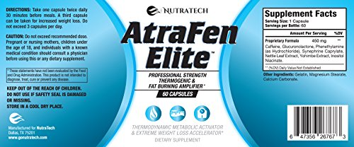 Atrafen Elite - Professional Formula Fat Burner Diet Pill and Thermogenic for Hardcore Weight Loss