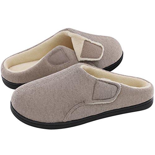 ULTRAIDEAS Women's Comfort Velvet Memory Foam Slippers Short Plush Clog Indoor & Outdoor Diabetic Shoes w/Adjustable Velcro (Large/9-10 B(M) US, Gray)