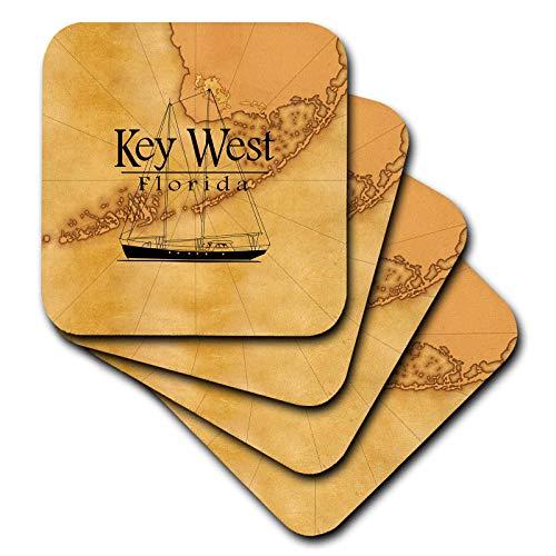3dRose MacDonald Creative Studios - Florida - Vintage style nautical map and sailboat for Key West Florida. - set of 8 Ceramic Tile Coasters ()
