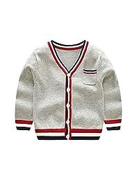 Vinnytido Kids Sweaters Knitting Cardigan V-Neck Striped Button up