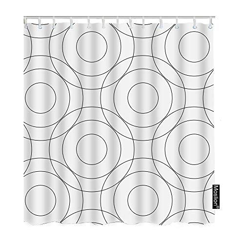 Moslion Shower Curtain Circles and Rings 60Wx72H Inch Modern Geometric Pattern Simple Monochrome Art Black White FunnyShowerCurtain for Bathroom Decoration - Ring D44