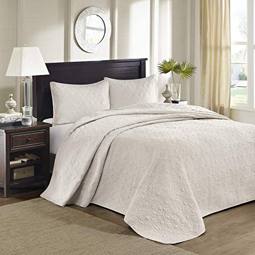 Madison Park Quebec Queen Size Quilt Bedding Set - Ivory , Damask – 3 Piece Bedding Quilt Coverlets – Ultra Soft Microfiber Bed Quilts Quilted Coverlet (Renewed)