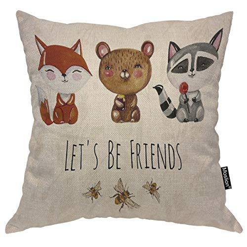 Moslion Let's Be Friends Throw Pillow Cover Lovely Cute Fox Bear Raccoon Bees Watercolor Animal Smile 16x16 Inch Square Pillow Case Cushion Cover for Home Car Decorative Cotton Linen (Case Cover A517)