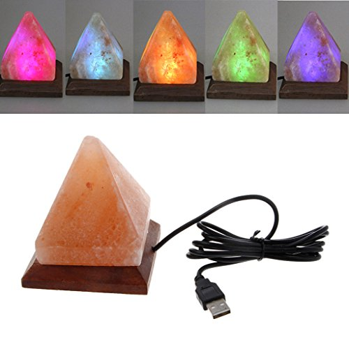 Feamos Triangle Shape Himalayan Salt Lamp Air Purifier Night Light with USB Wooden Base Crystal Decor for Home Office Gift by Feamos
