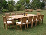 "New 13 Pc Luxurious Grade-A Teak Dining Set - 117"" Double Extension Rectangle Table 12 Giva Chairs (10 Armless and 2 Arm / Captain)"