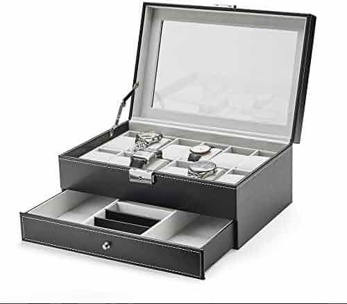 TWING 12 Slot PU Leather Watch Box Organizer Mens Watch Jewelry Display Case with Lock -Black