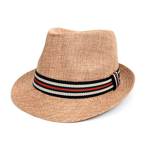 Spring Summer Trilby Fedora Hat with Multi Color Band (Mens Striped Fedora)