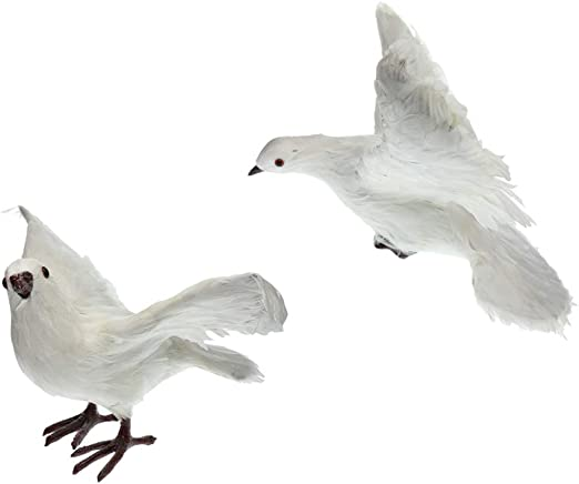 2X Fake Artificial Feather Bird Dove Open Wings Garden Home Decor Taxidermy