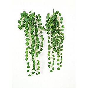 Yatim 90 cm Grape Ivy Vine Artificial Plants Greeny Chain Wall Hanging Leaves for Home Room Garden Wedding Garland Outside Decoration Pack of 2 51
